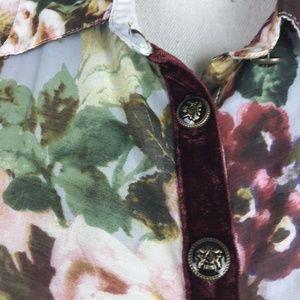 Aratta Silent Journey Tops - Aratta Silent Journey Top Burgundy Floral Silk